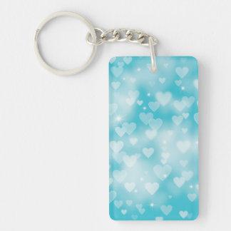 Aqua Hearts Bokeh Keychain