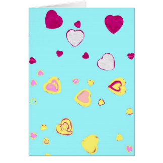 Aqua Hearts Greeting Card