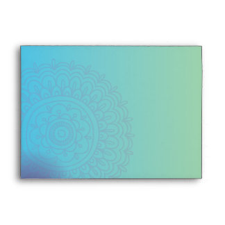 Aqua HEMSA HAND of GOD Bat Mitzvah Invitation Envelope