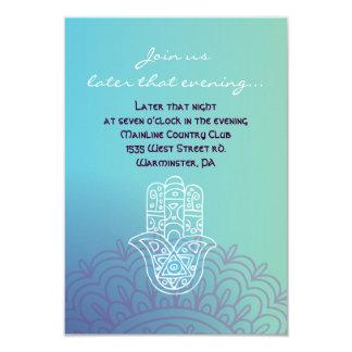 Aqua HEMSA HAND of GOD Bat Mitzvah Party Card Custom Announcement