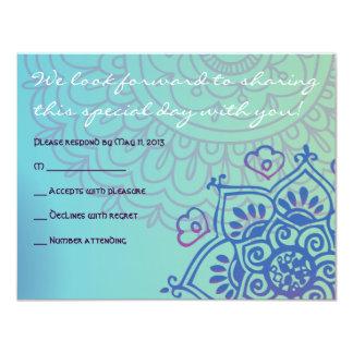 Aqua HEMSA HAND of GOD Bat Mitzvah Reply Card