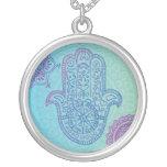 Aqua HEMSA HAND of GOD Bat Mitzvah Silver Necklace