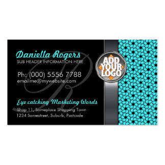 Aqua Hexagon Pattern w/ Logo Dark Business Cards