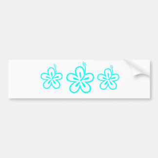 Aqua hibiscus aloha flower bumper sticker