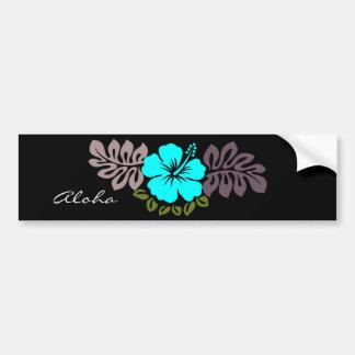 Aqua Hibiscus and Leaves Car Bumper Sticker
