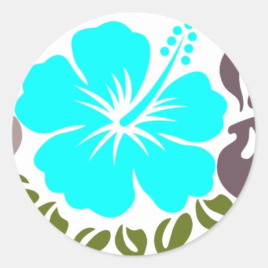 Aqua Hibiscus and Leaves Classic Round Sticker