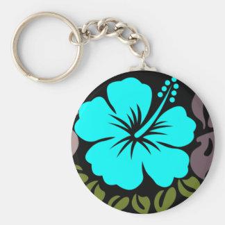Aqua Hibiscus and Leaves Keychain