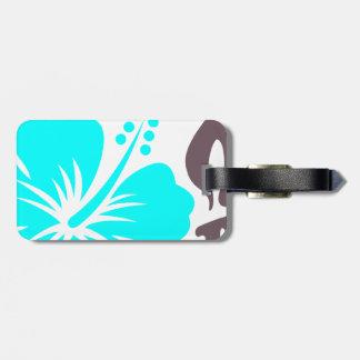 Aqua Hibiscus and leaves Luggage Tag