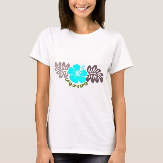 Aqua Hibiscus and Leaves T-Shirt
