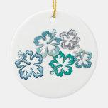Aqua Hibiscus Blooms Ornament