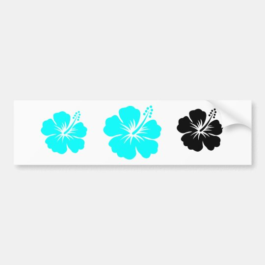 Aqua hibiscus flower design bumper sticker