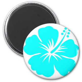 Aqua hibiscus flower design magnet
