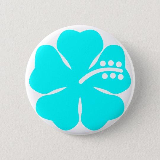 Aqua hibiscus flower pinback button