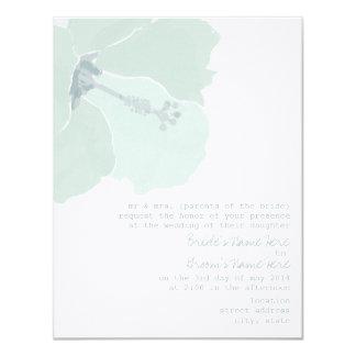 Aqua Hibiscus Flower Tropical Beach Wedding Card