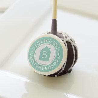 Aqua Home Sweet Home Monogram Housewarming Gift Cake Pops