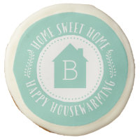 Aqua Home Sweet Home Monogram Housewarming Gift Sugar Cookie