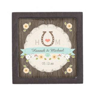 AQUA Horseshoe Heart Western Wedding Keepsake Box Premium Gift Boxes
