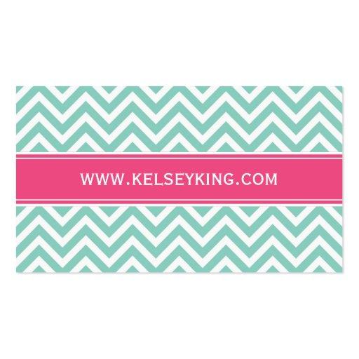 Aqua & Hot Pink Chevron Custom Monogram Business Card Template (back side)