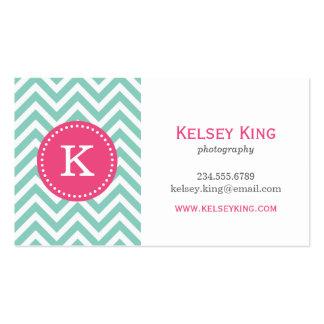 Aqua & Hot Pink Chevron Custom Monogram Business Card Template
