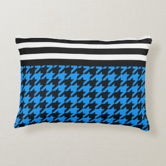 Aqua Houndstooth w/ Stripes 2 Decorative Pillow