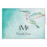 Aqua Hummingbird Watercolor Anniversary Thank You Greeting Card