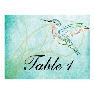 Aqua hummingbird Watercolor Table Number Postcards