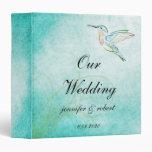 Aqua Hummingbird Watercolor Wedding Album 3 Ring Binders