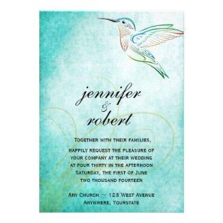 Aqua Hummingbird Watercolor Wedding Invitation