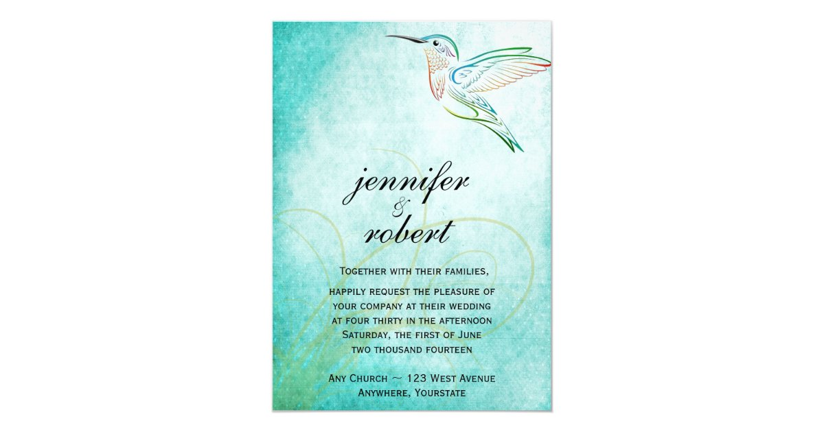 Hummingbird Wedding Invitations: Aqua Hummingbird Watercolor Wedding Invitation