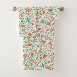 Aqua Hummingbirds Pink Tropical Print Bath Towels