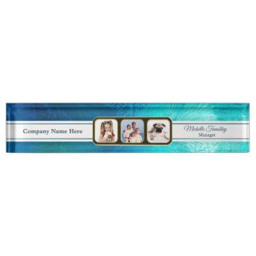 Professional Business Aqua Ice Custom Photo Desk Name Plate