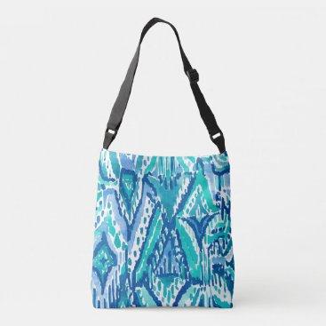 Beach Themed Aqua Ikat Fringe Tribal Watercolor Print Crossbody Bag