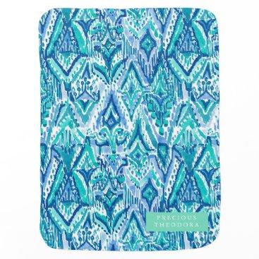 Beach Themed Aqua Ikat Fringe Tribal Watercolor Swaddle Blanket