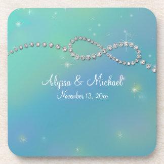 Aqua Infinity Symbol Sign Infinite Love Twinkling Coaster