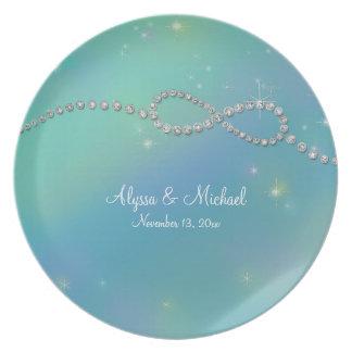 Aqua Infinity Symbol Sign Infinite Love Twinkling Dinner Plate