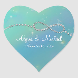 Aqua Infinity Symbol Sign Infinite Love Twinkling Heart Sticker