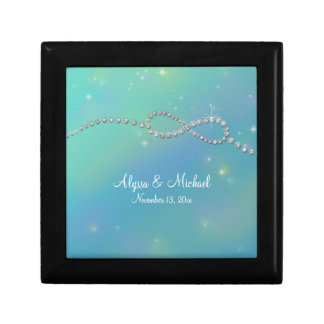 Aqua Infinity Symbol Sign Infinite Love Twinkling Jewelry Box