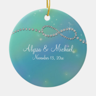 Aqua Infinity Symbol Sign Infinite Love Twinkling Double-Sided Ceramic Round Christmas Ornament