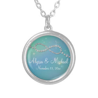 Aqua Infinity Symbol Sign Infinite Love Twinkling Round Pendant Necklace