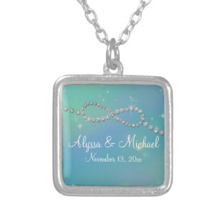 Aqua Infinity Symbol Sign Infinite Love Twinkling Square Pendant Necklace