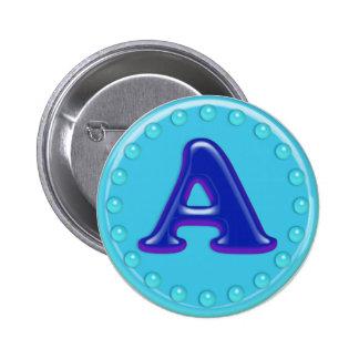 Aqua Initial A 2 Inch Round Button