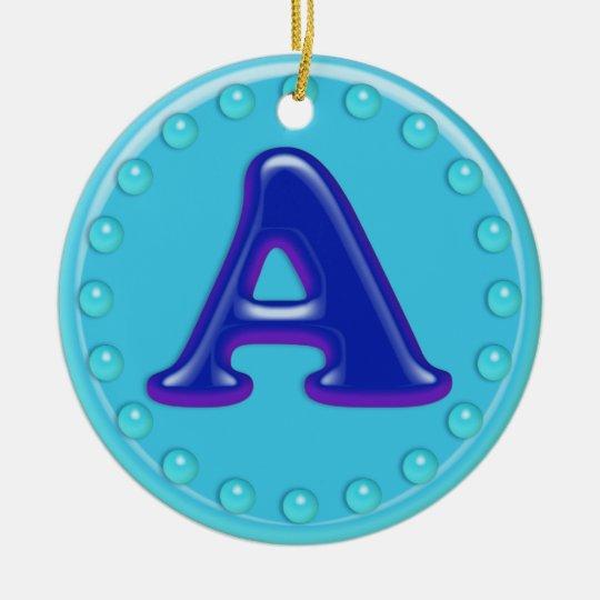 Aqua Initial A Ceramic Ornament