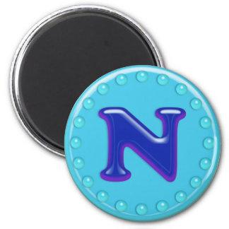 Aqua Initial N 2 Inch Round Magnet