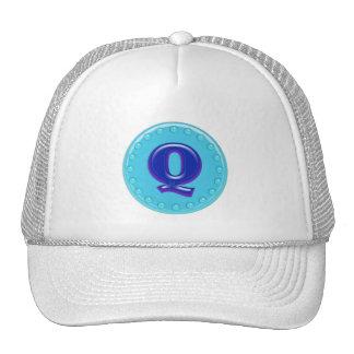 Aqua Initial Q Trucker Hat