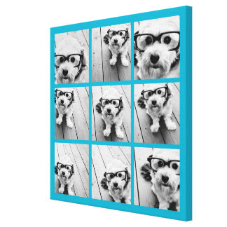 Aqua Instagram Photo Collage with 9 square photos Gallery Wrap Canvas