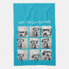 Aqua Instagram Photo Collage with 9 square photos Kitchen Towel