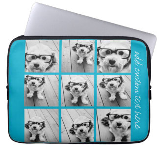 Aqua Instagram Photo Collage with 9 square photos Laptop Sleeve