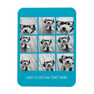 Aqua Instagram Photo Collage with 9 square photos Rectangular Photo Magnet
