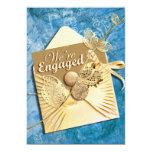 Aqua ivory engagement beach theme card