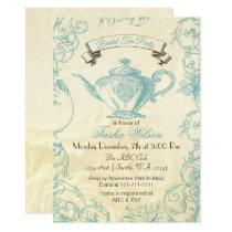 Aqua Ivory Roses vintage Bridal Tea Invitation
